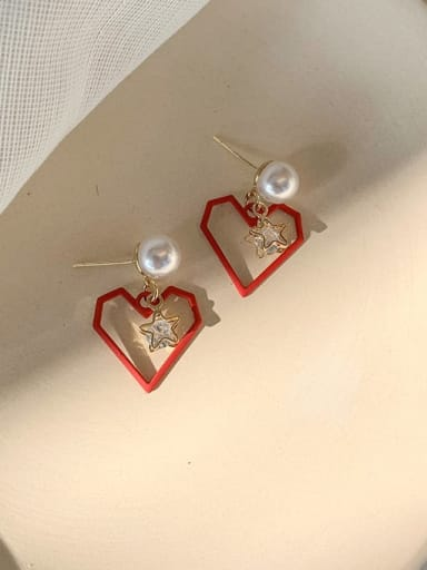 A red Alloy With Imitation Gold Plated Simplistic Drop Earrings