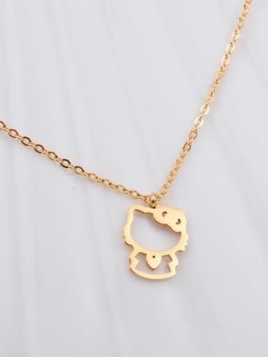 Titanium Cartoon Hollow cat Necklace