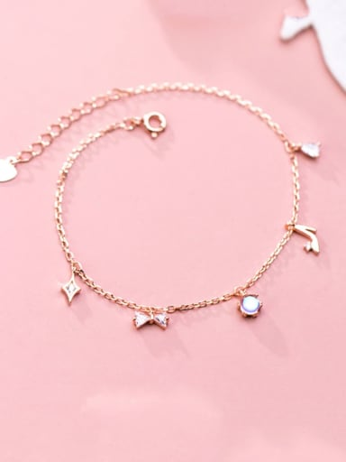 925 Sterling Silver Trend  Diamond bow bow high heels Link Bracelet