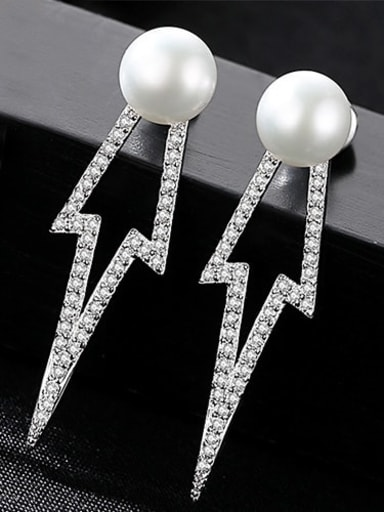 White 1C11 925 Sterling Silver Freshwater Pearl Geometric Classic Drop Earring