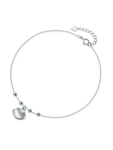 925 Sterling Silver Minimalist  Cats Eye Geometric    Anklet