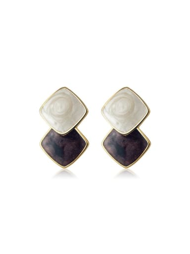925 Sterling Silver Enamel Geometric Vintage Stud Earring