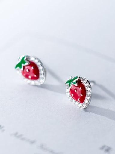 925 Sterling Silver Minimalist  Strawberries Stud Earring