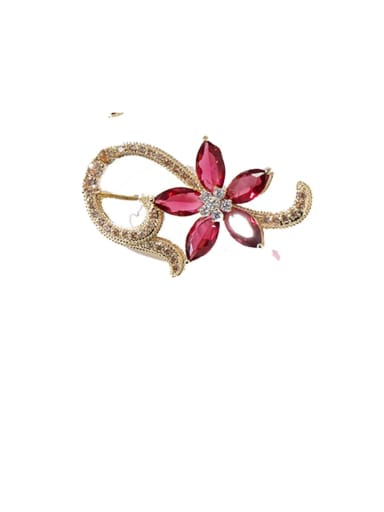 red Copper Cubic Zirconia Multi Color Flower Dainty Brooches
