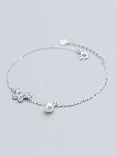 925 Sterling Silver  Minimalist Butterfly  Link Bracelet