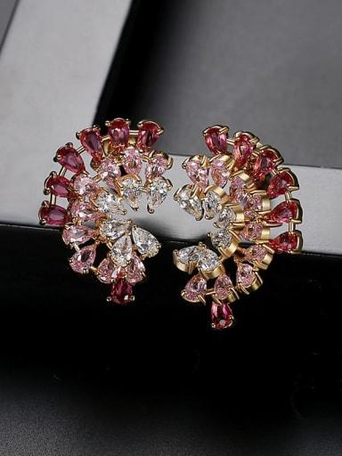 Red Copper Cubic Zirconia Flower Luxury Stud Earring