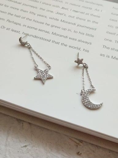 925 Sterling Silver Rhinestone Asymmetric Star Moon  Vintage Threader Earring