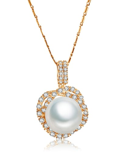 Copper Cubic Zirconia  Classic Flower Pearl pendant Necklace