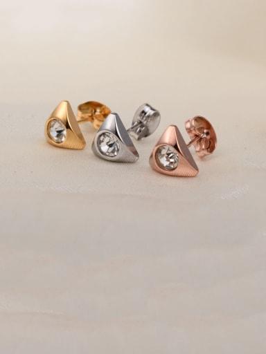 Titanium Cubic Zirconia White Triangle Minimalist Stud Earring