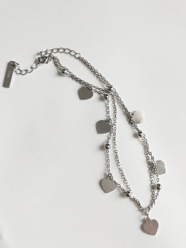 925 Sterling Silver Simple Heart  Double Layer Bead Chain  Anklet