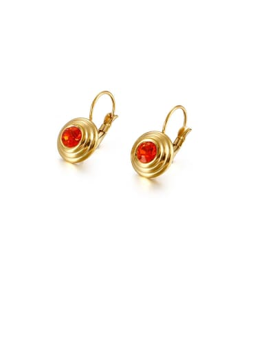 Stainless Steel Cubic Zirconia Red Round Minimalist Stud Earring