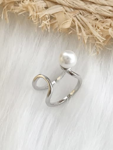 925 Sterling Silver Imitation Pearl  Irregular Minimalist Stackable Ring