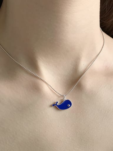 925 Sterling Silver blue dolphin enamel Necklace