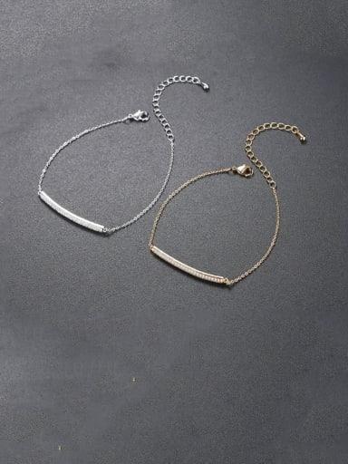 Copper Cubic Zirconia Geometric Minimalist Link Bracelet