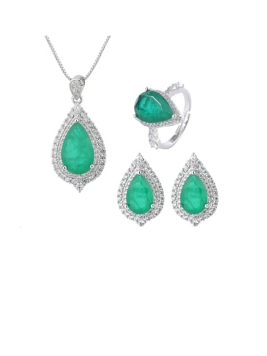Brass Cubic Zirconia Vintage Water Drop Earring Ring and Necklace Set