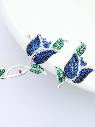 Blue petal red zircon t06c04 Copper Cubic Zirconia  Luxury  Rosary Cluster Earring