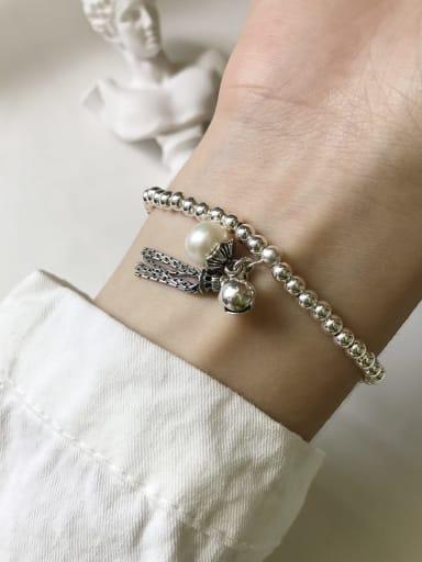 925 Sterling Silver Imitation Pearl Ball Tassel  Vintage Beaded Bracelet