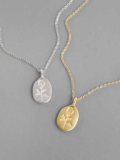 925 Sterling Silver With Gold Plated Simplistic Flower Necklaces