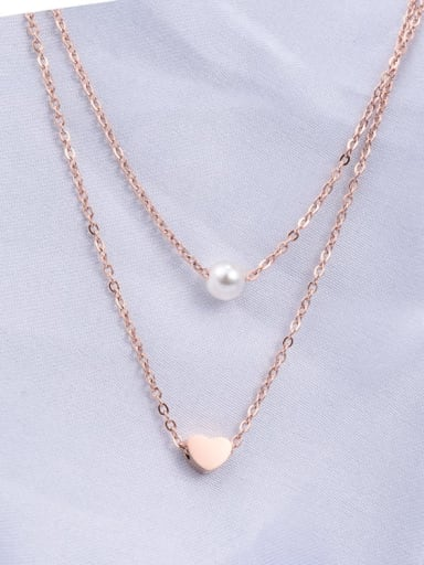 Titanium Imitation Pearl White Heart Minimalist Multi Strand Necklace