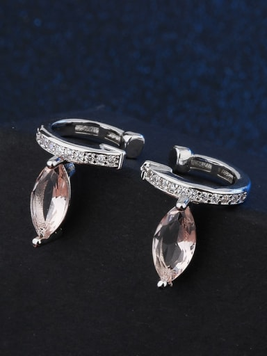 platinum Copper Glass Stone Water Drop Vintage Huggie Earring