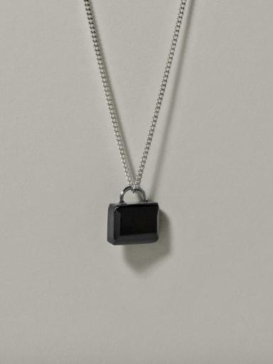 925 Sterling Silver Black Zirconium Lock Necklaces