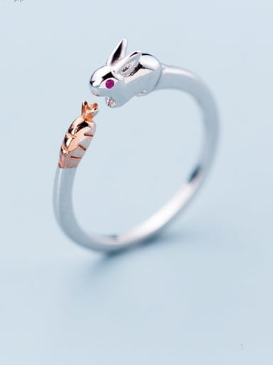 925 Sterling Silver Cute rabbit Free Size  Ring