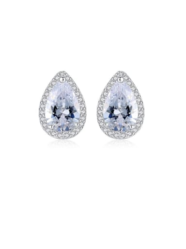 white platinum 925 Sterling Silver Cubic Zirconia White Water Drop Classic Stud Earring