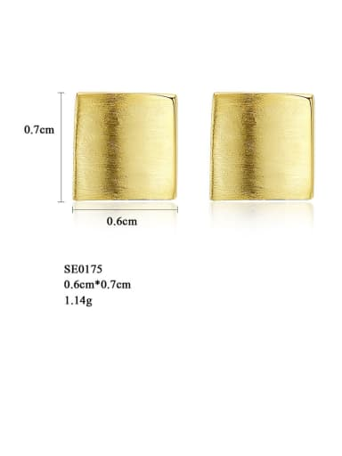 gold 925 Sterling Silver Smooth Square Minimalist Stud Earring