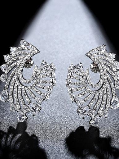 platinum Copper Cubic Zirconia Geometric Luxury Stud Earring