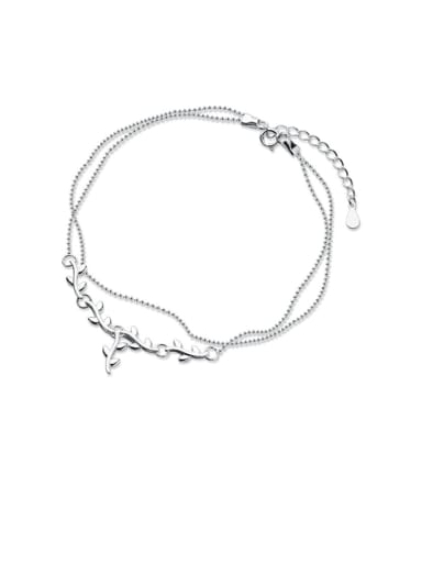925 Sterling Silver  Irregular Minimalist Double layer  Anklet