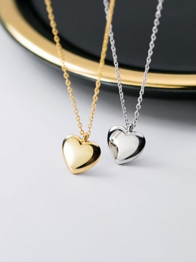 925 Sterling Silver  Minimalist  Smooth Heart Pendant Necklace