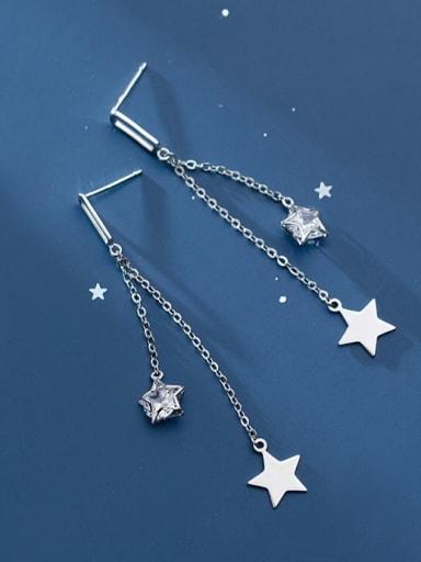925 Sterling Silver Cubic Zirconia Star Tassel Minimalist Stud Earring