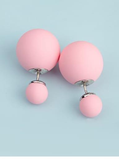Light powder t09d01 Copper Imitation Pearl Enamel  Round Ball Minimalist Stud Earring