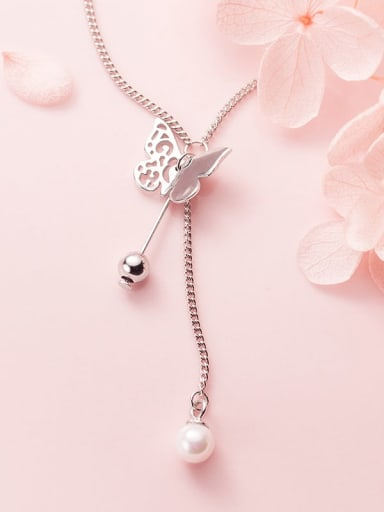 925 Sterling Silver Imitation Pearl  Butterfly Minimalist Lariat Necklace