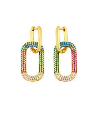 colour Brass Rhinestone Geometric Vintage Drop Earring