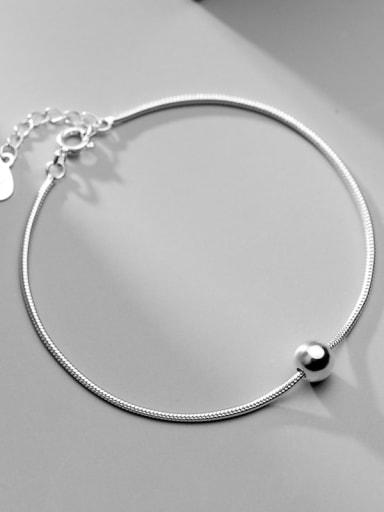 925 sterling silver smooth round ball minimalist link bracelet