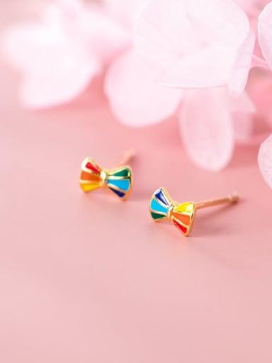 925 Sterling Silver Multi Color Enamel Bowknot Cute Stud Earring