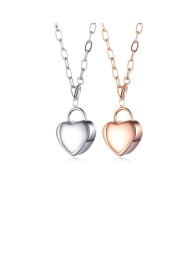 Titanium Smooth Heart Pendants Necklace
