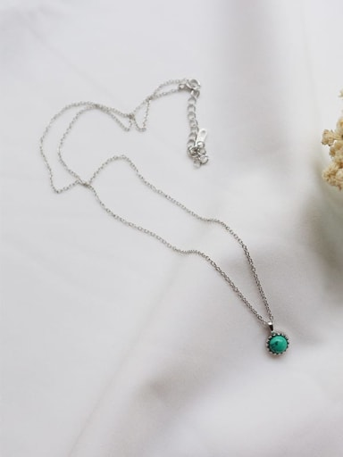 925 Sterling Silver Turquoise Green Necklace