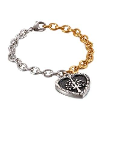 Stainless Steel Black Enamel Heart Vintage Link Bracelet