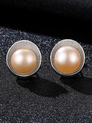 Platinum powder bead 2g08 925 Sterling Silver Freshwater Pearl Multi Color Irregular Trend Stud Earring