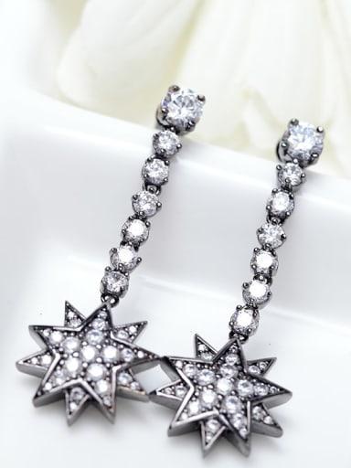 black Copper Cubic Zirconia Star Dainty Drop Earring