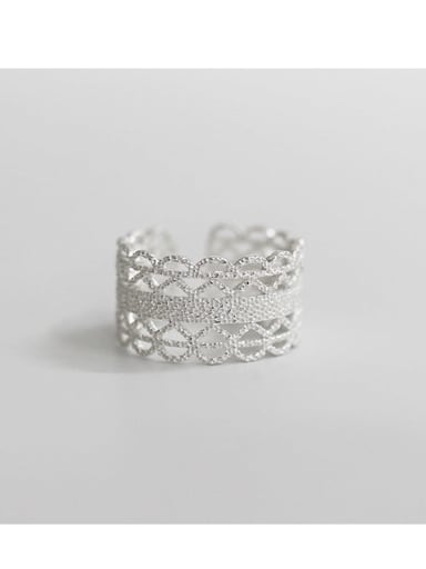 silvery S925 Sterling Silver open cut hand cut lace ring
