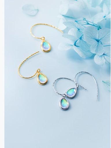 925 Sterling Silver Colored glass  Water Drop Minimalist Hook Earring