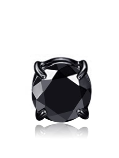 black single Titanium Rhinestone Multi Color Square Minimalist Stud Earring  No piercings