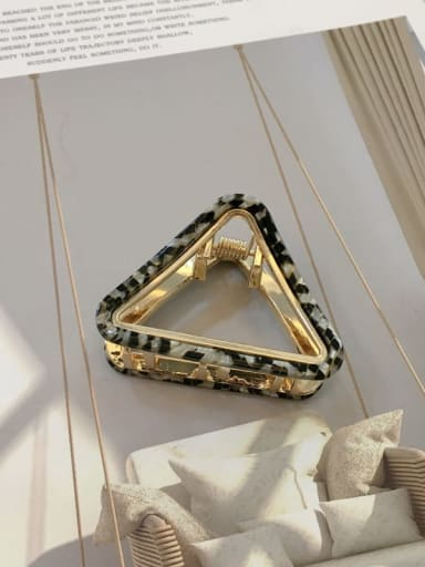 Black and white Alloy Cellulose Acetate Trend Hollow Triangle Jaw Hair Claw