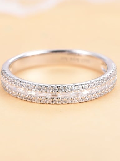Accessory precepts 925 Sterling Silver Cubic Zirconia Geometric Luxury Band Ring