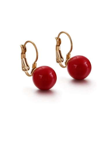 red Stainless Steel Imitation Pearl Multi Color Round Minimalist Hook Earring