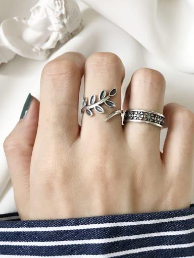 925 Sterling Silver Leaf Vintage Free Size Midi Ring