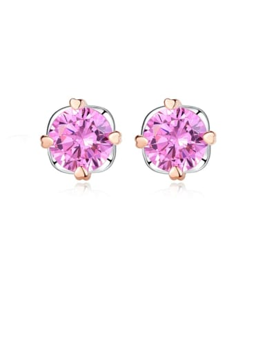 925 Sterling Silver Cubic Zirconia Pink Round Minimalist Stud Earring